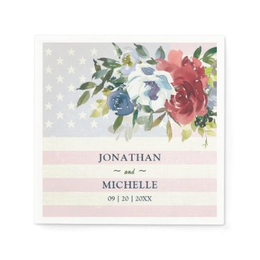 Red White Blue Floral USA Flag Watercolor Wedding Napkins