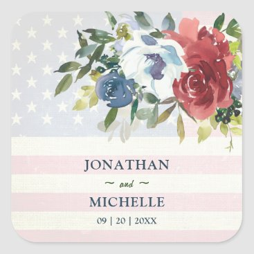 Red White Blue Floral USA Flag Watercolor Wedding Square Sticker