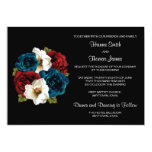 Red White Blue Floral Wedding Card