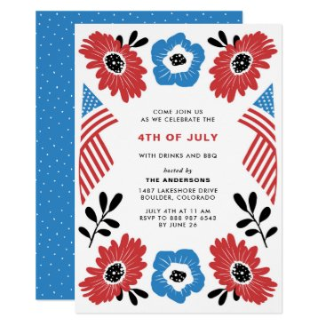 Red White & Blue Florals Fourth of July Invitation