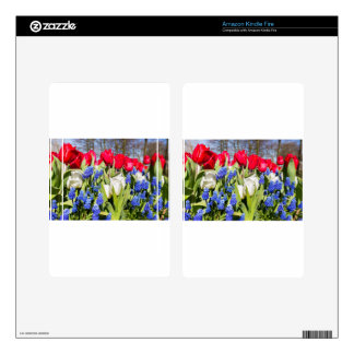 Red white blue flowers in spring season kindle fire decals