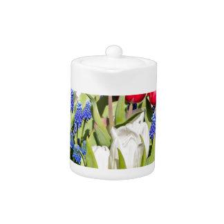 Red white blue flowers in spring season teapot