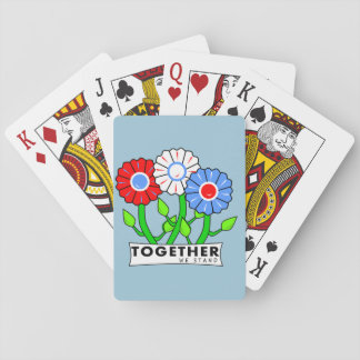 red white blue flowers playing cards celebration
