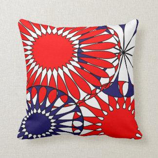 Red White Blue Flowery Retro  Pattern Pillow Cushi