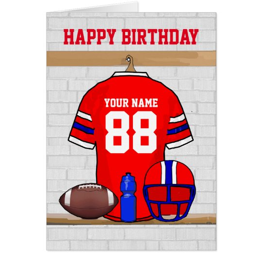 Red White Blue Football Jersey Happy Birthday Card