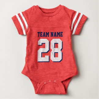 Red White Blue Football Jersey Sports Baby Romper