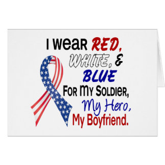 Red White Blue For My Boyfriend Greeting Cards