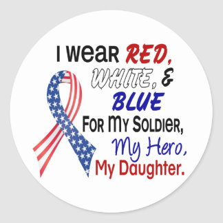 Red White Blue For My Daughter Round Stickers