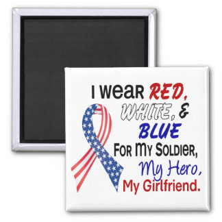 Red White Blue For My Girlfriend 2 Inch Square Magnet