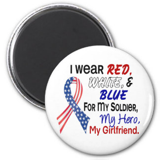 Red White Blue For My Girlfriend 2 Inch Round Magnet