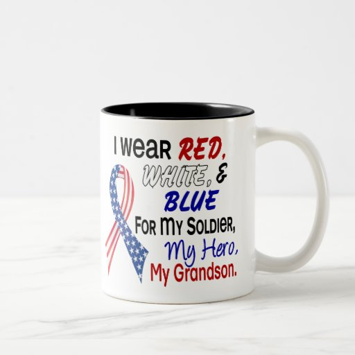 Red White Blue For My Grandson Two-Tone Coffee Mug