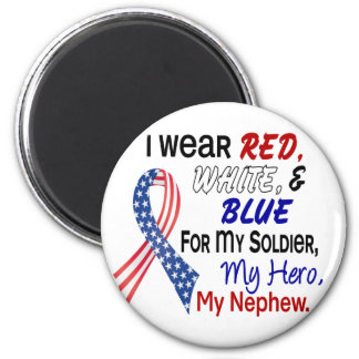 Red White Blue For My Nephew 2 Inch Round Magnet