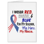 Red White Blue For My Niece Greeting Cards
