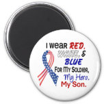 Red White Blue For My Son 2 Inch Round Magnet