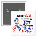 Red White Blue For My Son 2 Inch Square Button