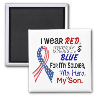 Red White Blue For My Son 2 Inch Square Magnet