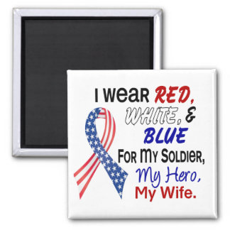 Red White Blue For My Wife 2 Inch Square Magnet