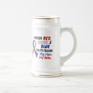 Red White Blue For My Wife 18 Oz Beer Stein