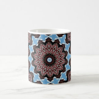 Red, white & blue fractal pattern design coffee mug