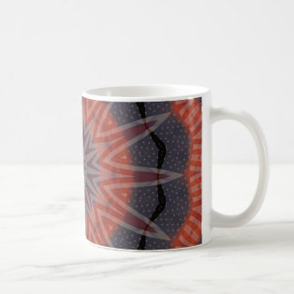 Red, white & blue fractal pattern design mugs