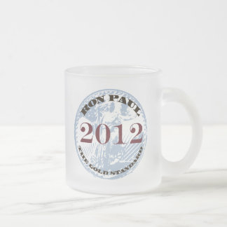 RED WHITE & BLUE FROSTED GLASS COFFEE MUG