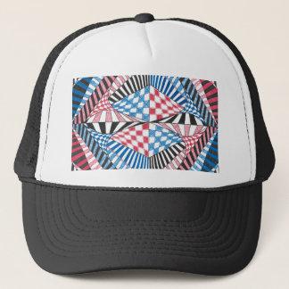 Red, White, Blue Geometric Abstract Zen Doodle Art Trucker Hat