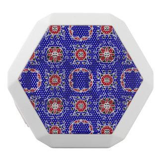 Red White Blue Geometric Pattern Personalizable White Bluetooth Speaker
