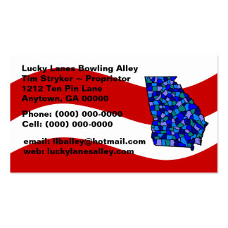 Red White & Blue Georgia Map State Business Card