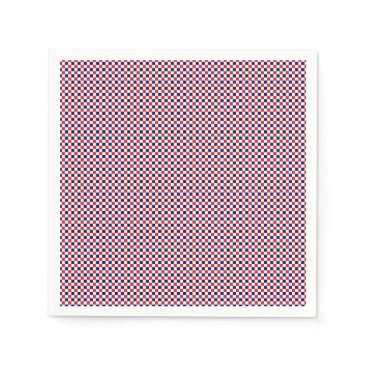 USA Themed Red,White,Blue Gingham-PAPER PARTY NAPKINS