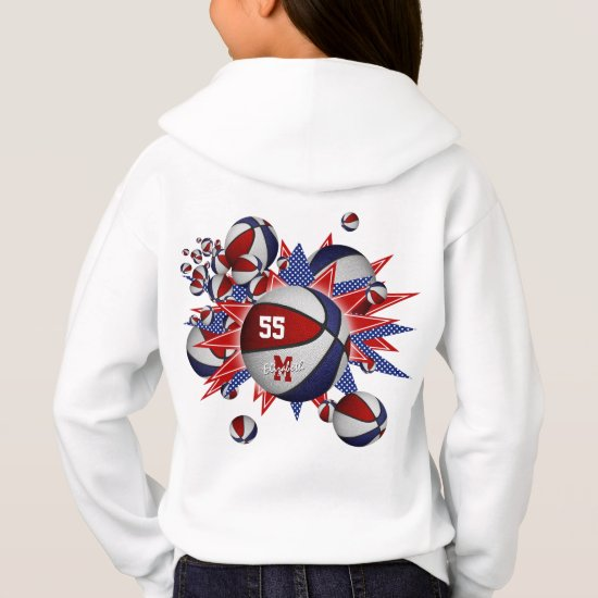 red white blue girl's basketball blowout hoodie