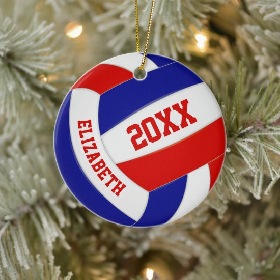 red white blue girls boys team colors volleyball ceramic ornament
