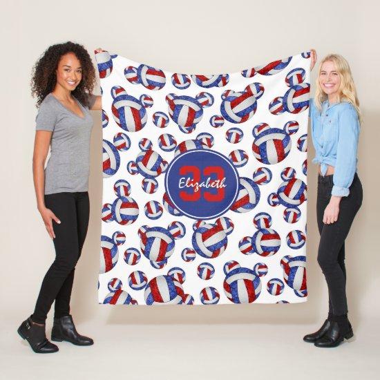 red white blue girls volleyballs pattern fleece blanket