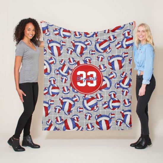 red white blue girls volleyballs w net detail fleece blanket