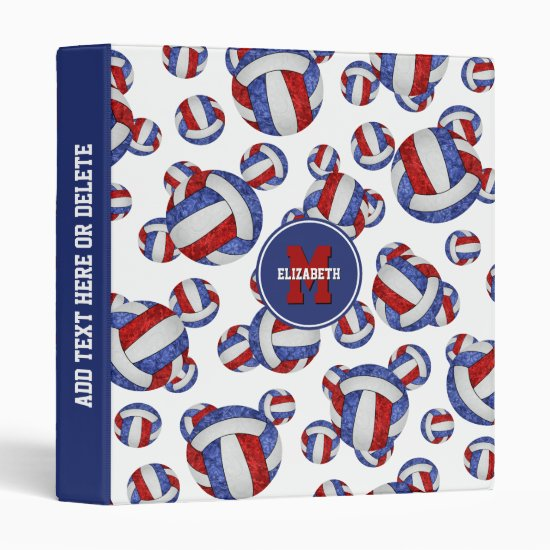 red white blue girly team colors volleyball 3 ring binder