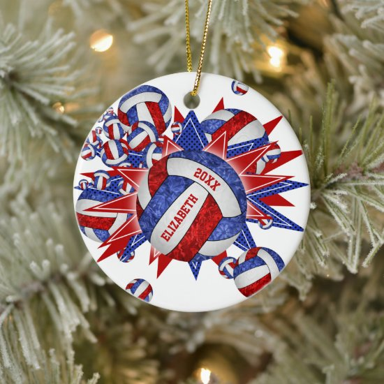 red white blue girly volleyball blowout sports ceramic ornament