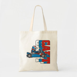 Red, White Blue Go Cart Budget Tote Bag