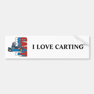 Red, White Blue Go Cart Bumper Sticker