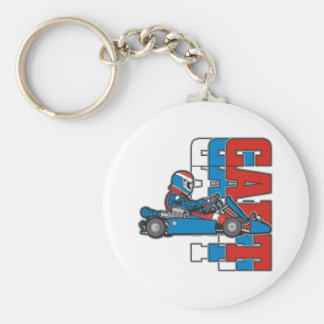 Red, White Blue Go Cart Keychain