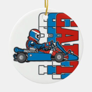 Red, White Blue Go Cart Ornaments