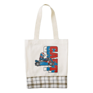 Red, White Blue Go Cart Zazzle HEART Tote Bag
