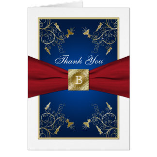 Red, White, Blue, Gold Floral Thank You Note Card