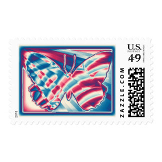 Red White & Blue Gradient Butterfly Postage Stamps