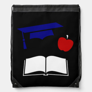 Red White Blue Graduation Cap and Book Cinch Bags