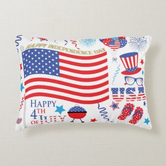 Red White Blue Graphics Happy 4th July Accent Pillow