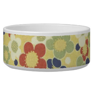 Red, White, Blue & Green Flowers Yellow Bowl
