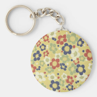 Red, White, Blue & Green Flowers Yellow Keychain