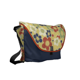 Red, White, Blue & Green Flowers Yellow Courier Bags