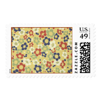 Red, White, Blue & Green Flowers Yellow Stamps