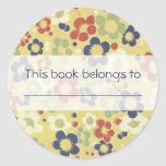 Red, White, Blue & Green Flowers Yellow Sticker