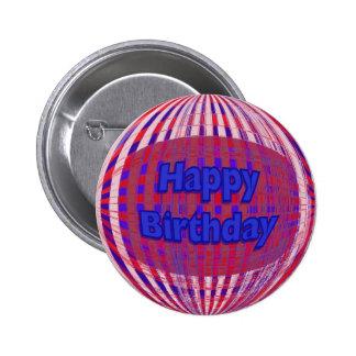 Red white blue Happy Birthday Button